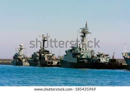 GDYNIA CITY, POLAND - APRIL 26: Small missile boats of Polish Navy in port of Gdynia. April 26 2010, Poland - stock photo