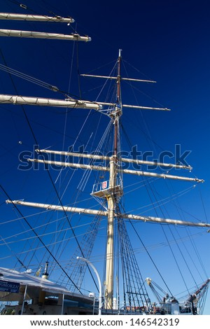 "GDYNIA, POLAND - JUNE 30: Polish maritime museum ship ""Dar Pomorza"" at the Baltic Sea in Gdynia on June 30, 2012. This Polish sailing frigate was built in 1909 and served as a sail training ship."
