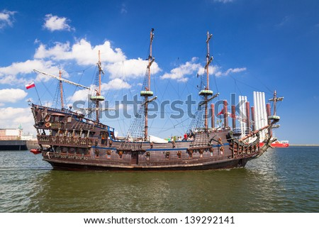 "GDYNIA, POLAND - MAY 19: ""Dragon"" - pirate ship on the water of Baltic Sea in Gdynia on 19 May 2013. This ship imitating XVII century galleon is big tourist attraction of Tri city in Poland."