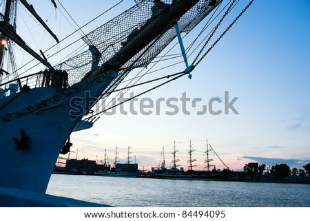 GDYNIA, POLAND - SEPTEMBER 05: Tall ship Dar Mlodziezy in port on sunset, at Culture 2011 Tall Ships Regatta.20 large vessels,dozen of smaller boats,1000 participants.September 05,2011 in Gdynia, Poland
