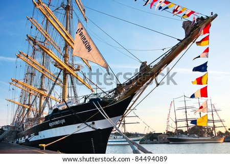 GDYNIA, POLAND - SEPTEMBER 05: Tall ship Krusenstern in port at Culture 2011 Tall Ships Regatta,20 large vessels,dozen of smaller boats,1000 participants.September 05,2011 in Gdynia, Poland - stock photo