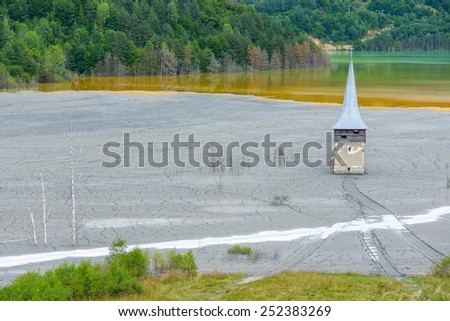 Geamana lake, village Romania, evironmental  destruction, toxic waste from operation of cyanide. - stock photo