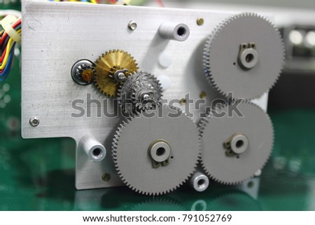 Gear and cogs installed in servo motor ,part of the Direction Gyro.