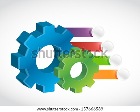 gear and color banners illustration design over white