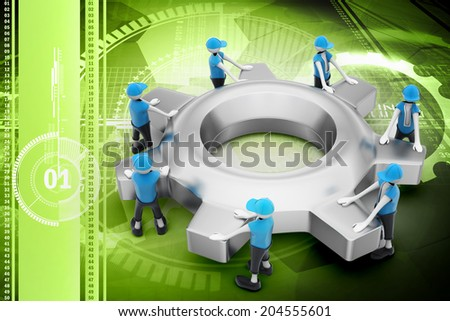 Gear and people , team work concept - stock photo