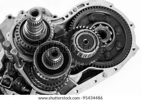 gear box part on isolated white background - stock photo