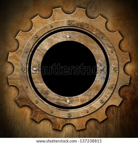 Gear - Brown Rusty Metal Porthole / Brown rusty metallic porthole gear-shaped with black hole (window)   - stock photo
