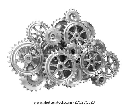 Gear cloud on white isolated background - stock photo