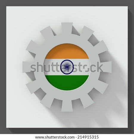 Gear flat design with flag of india - stock photo