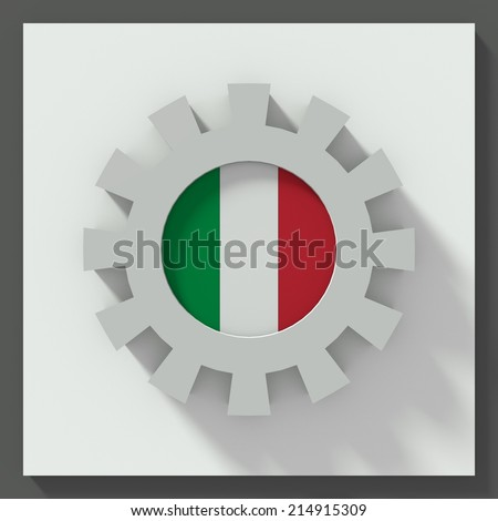 Gear flat design with flag of italy - stock photo