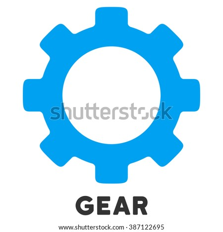 Gear glyph icon with caption. Style is a flat symbol with rounded angles, light blue and gray colors.