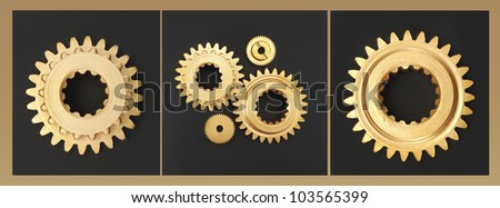 gear gold black background - stock photo