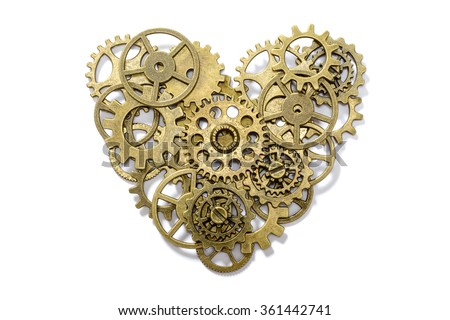 gear heart on white - stock photo