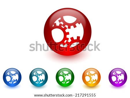 gear internet icons colorful set - stock photo