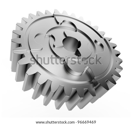 Gear made with jigsaw puzzles pieces - stock photo