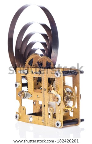 Gear mechanism on white background - stock photo