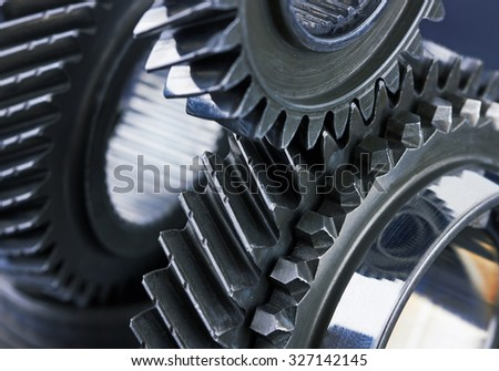 Gear metal wheels close-up - stock photo