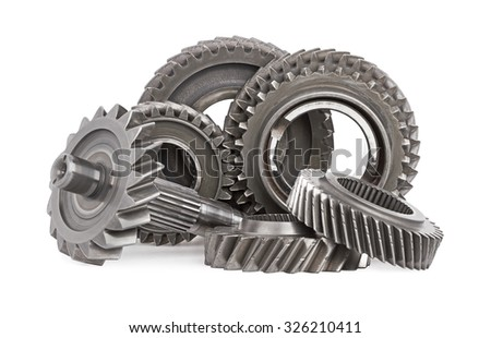 Gear metal wheels, isolated on white background - stock photo