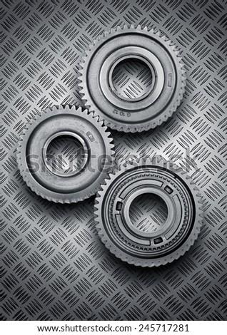Gear metal wheels on metal - stock photo