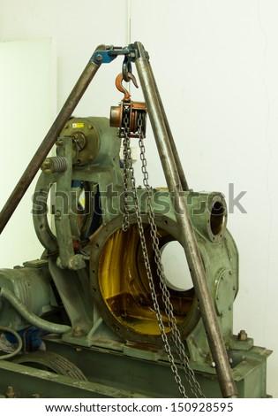 gear of elevator under overhaul - stock photo