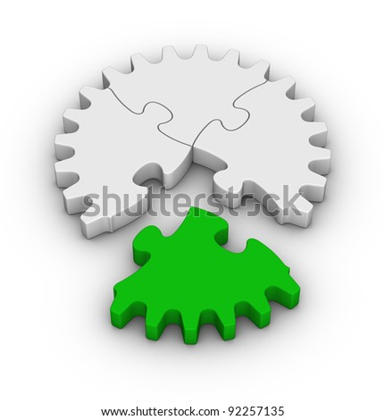 gear of jigsaw puzzles with one green piece - stock photo