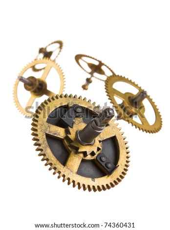 Gear of the clock isolated on white background - stock photo