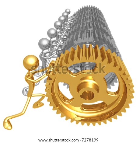 Gear Pushers - stock photo