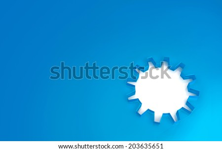 gear-shaped cutout in a blue plastic background - stock photo