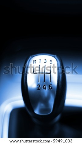 gear shift from a modern sports car in metal design - stock photo