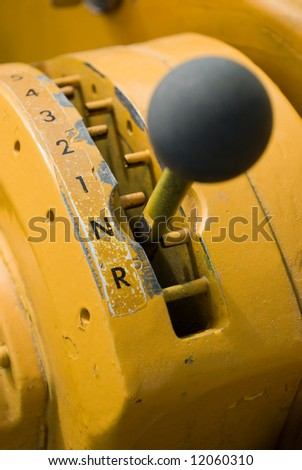 Gear shifter for earthmover - stock photo