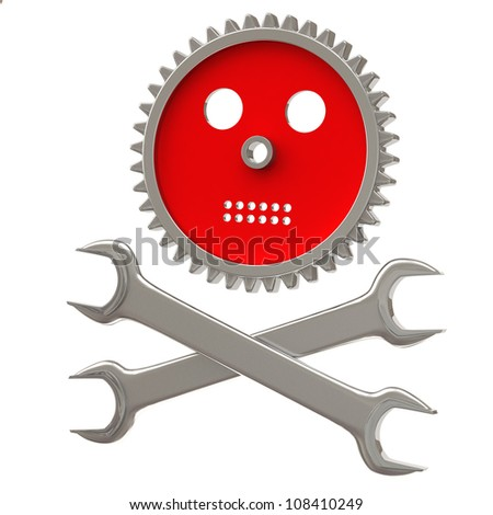 stock images similar to id 21003802 skull with the pipe wrench. Black Bedroom Furniture Sets. Home Design Ideas