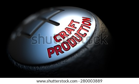 Gear Stick with Red Text Craft Production on Black Background. Selective Focus. 3D Render. - stock photo