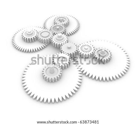 Gear system. 3d illustration - stock photo