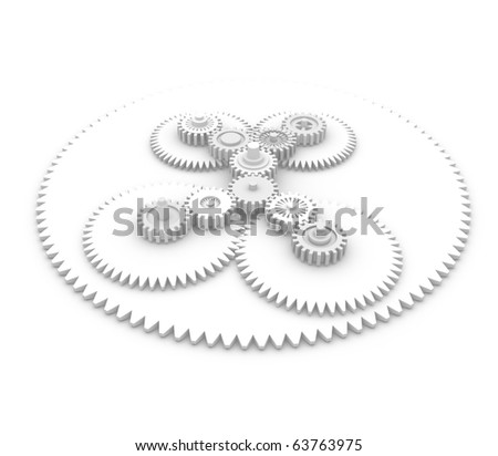 Gear system. 3d rendered image - stock photo