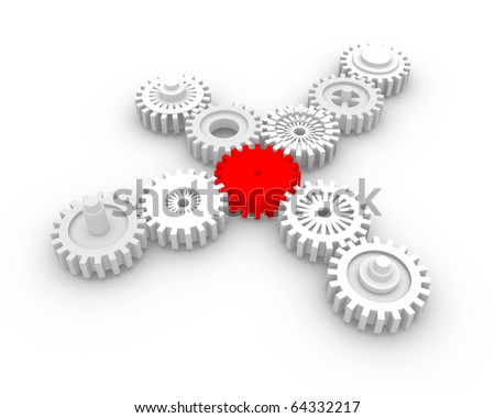 Gear system with a red gear in the center. - stock photo