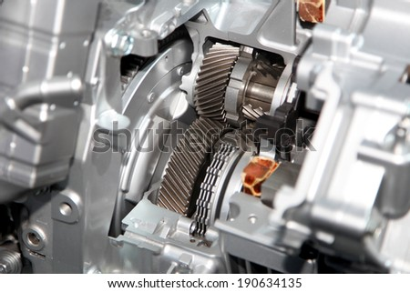 Gear train in side aluminium casing of the engine - stock photo