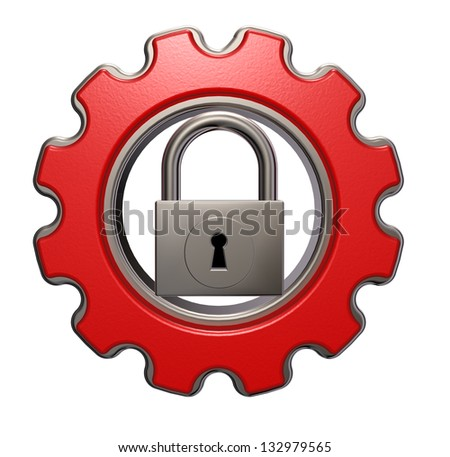 gear wheel and padlock on white background - 3d illustration