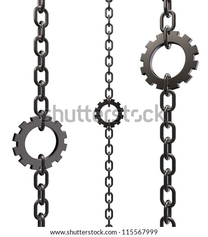 gear wheel as piece of a chain on white background - 3d illustration