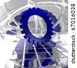 gear wheel in abstract space - 3d illustration - stock photo