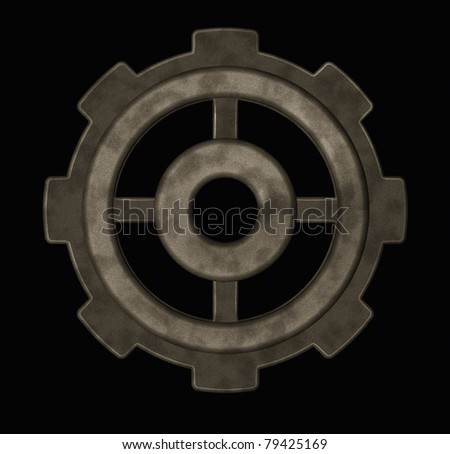 gear wheel on black background - 3d illustration