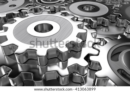 gear wheels (3d illustration) - stock photo
