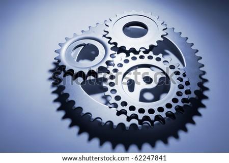 Gear Wheels in Blue Tone - stock photo