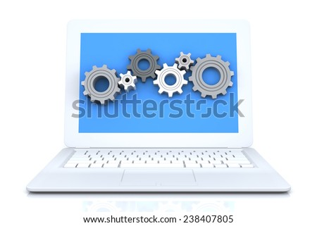 Gear Wheels in White Laptop. 3D Rendering Image - stock photo