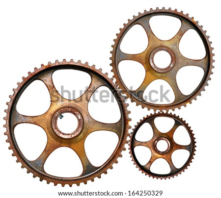 Gear wheels isolated on white - stock photo
