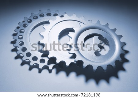 Gear Wheels on Grey Background