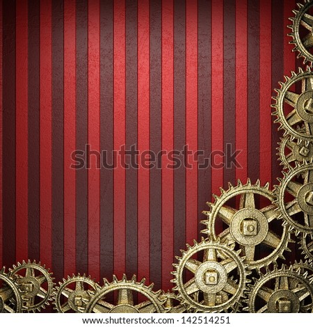 gear wheels on red background - stock photo