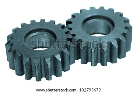 Gear wheels system over white background - stock photo