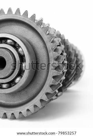 gear with ball bearing on isolated white background - stock photo