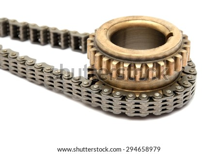 gear with chain on white background isolated - stock photo