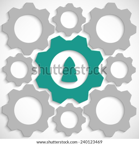 Gear with Christmas tree in the mechanism - stock photo